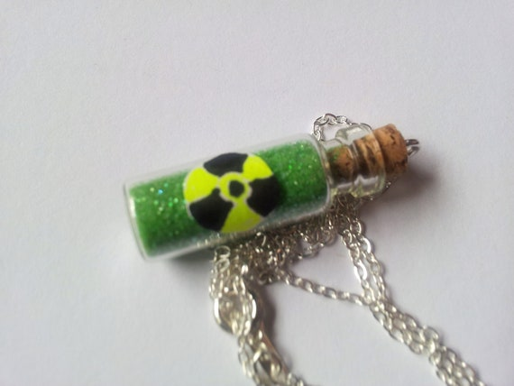 """Radioactive biohazard necklace inspired by Fallout on 22"""" chain"""