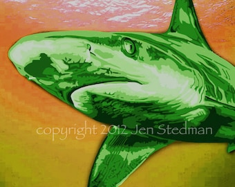 hand painted Shark art print, lime green, orange and yellow, bright colors