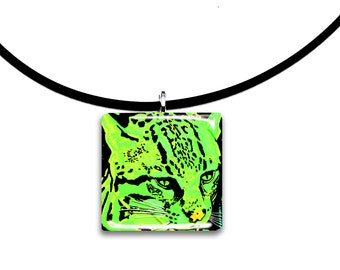 lime green, Wild, Ocelot, Cat artwork, handmade glass tile pendant, neon bight green, pop art
