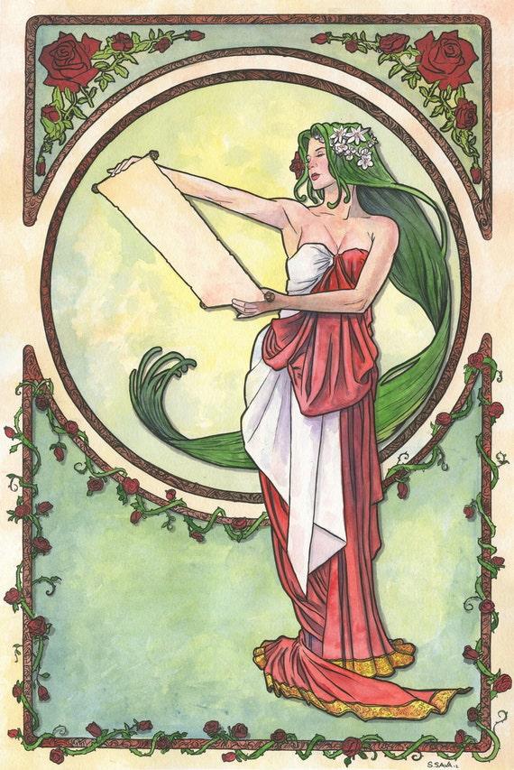 Art Nouveau 08 Original Watercolor by Scott Christian Sava