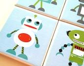 Robot Coasters, Robot Home Decor, Cartoon Robot Illustration, Handmade Beverage Coasters