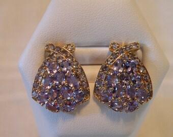 Marvelous 10K Gold Iolite Earrings - 7.3 ctw