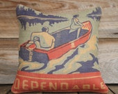 Blue and Red Throw Pillow, Decorative Burlap Pillow, Cushion, Anniversary, Dependable