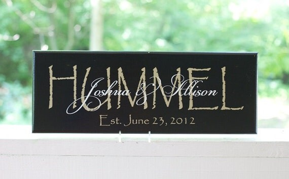 Wedding Date Picture Gift: Personalized Wedding Last Name Signs. Wood Signs Established