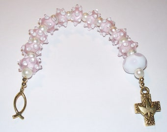 Beautiful Handmade Lampwork Single Decade Pocket Rosary - Pink & White Bumpy Lampwork with Freshwater Pearls