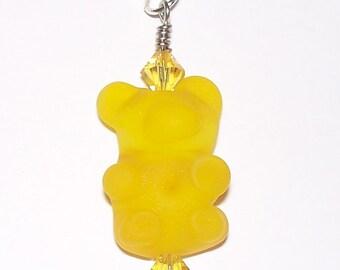 Handmade Yellow Gummy Bear Lampwork Pendant with Swarovski Crystals on a Silver Tone Ball Chain
