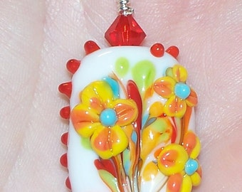 Handmade Colorful Flower Bouquet Lampwork Pendant with Swarovski Crystals on a Silver Tone Ball Chain