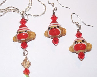 Adorable Handmade Colorful Sock Monkey Lampwork Necklace & Earrings Set with Swarovski Crystals