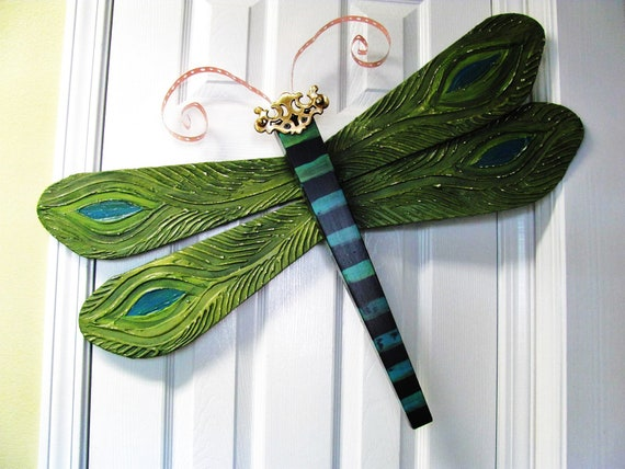 Table Leg Dragonfly Wall Art- Peacock Textured Wings - Green and Blue- Large