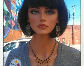 Black N Gold Necklace inspired by Pittsburgh Steelers Fans