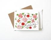 Botanical Thank You Card - Original Watercolor Artwork, Thanks, Blank inside