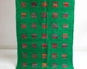 Green Squared Floor Rug with Squares in 4x6.5 Feet