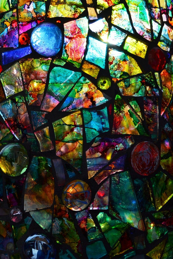 Stained Glass Mosaic Rainbow Vase Or Candle By