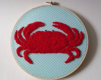 Boston Crab Summers Delight Punched Wallhanging Beacon Hill Collectibles Needlework