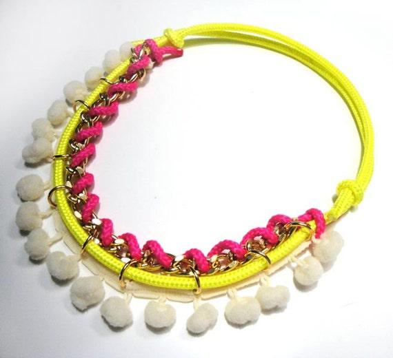 Neon cords pompom necklace