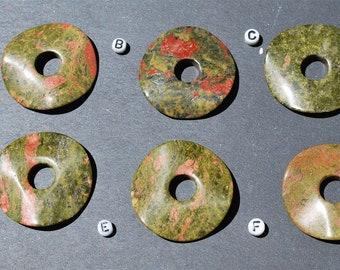 40mm Unakite Waved Stone Donut Pi Ring