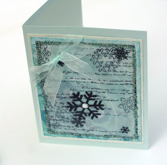 Glacier blue snowflake card winter wishes holiday notecard ice