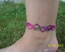 lace anklet, tatted weave anklet, tatted anklet, mulit color anklet, everyday anklet, tatted lace anklet, victorian tatted anklet