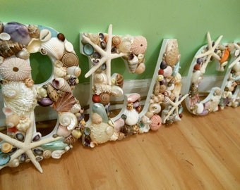 Beach Decor Beach Shell Letters - Seashell letters - Beach Sign