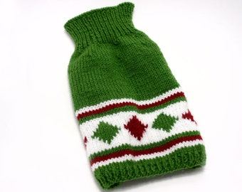 Hand Knit Green Dog Sweater (size Small)