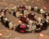 FINE MERLOT Burgundy, White & Silver Glass Bead Bracelet and Earring Set