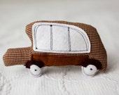Vintage brown soft car, stuffed toy safe for children