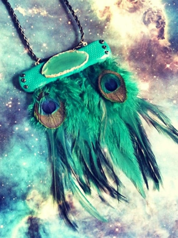 Shamanic emerald green peacock feathers and agate pendant