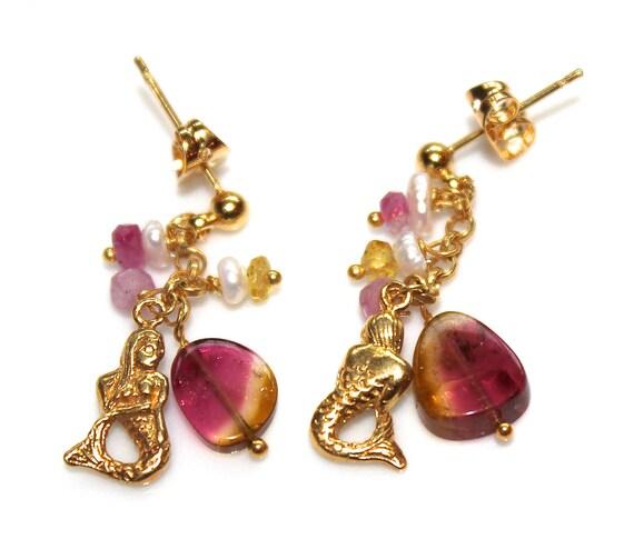 Watermelon Tourmaline Slice Mermaid Charm Gold Earrings Pearl Gold Vermeil Chain Dangle Drop Cluster Earrings Handcrafted Gemstone Jewelry