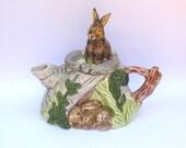 Vintage Italian teapot with bunnies
