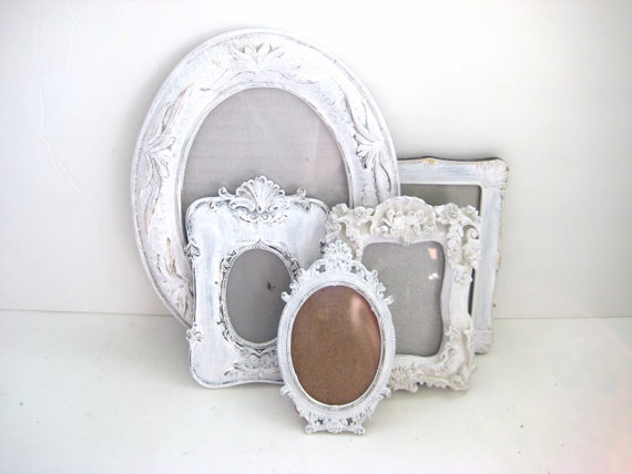 Vintage White Picture Frames - Ornate - With Glass - Set of 5 - Shabby Chic - Wedding