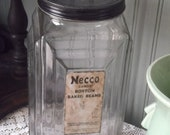 Vintage Necco Boston Baked Beans Candy Glass Art Deco Jar