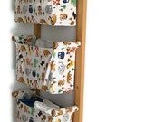 Wall hanging organizer - with 3 pockets / containers - Small, cute animals / for children / SHIPPING is included