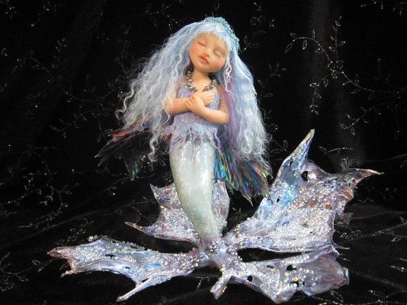 ooak Fairy art doll sculpture little blue Mermaid fae faeries art Nouveau ocean sea fish girl