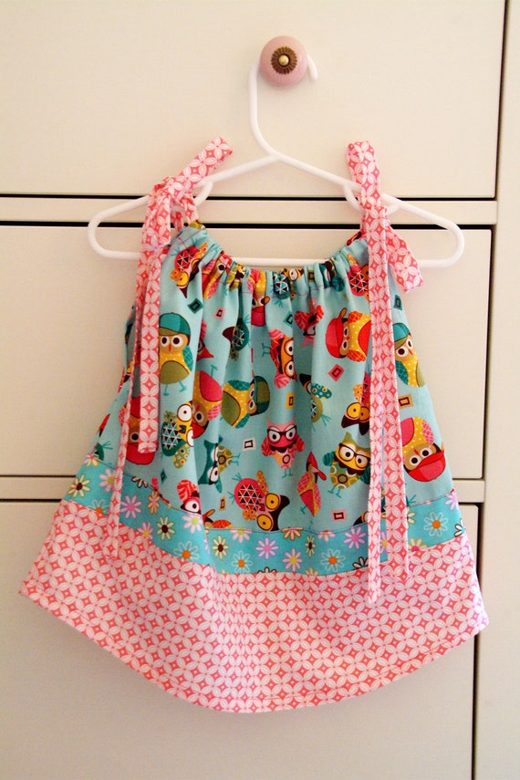 Teal and Pink Owl Pillowcase Dress - 12-18 Months