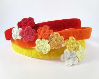 Trio De Crochet - Red Headband With Crochet Flower Cluster // Skinny Headband // Knit Headband / Infant Headband