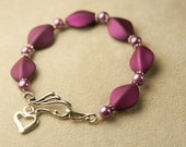 Purple Harlequin & Silver Beaded Bracelet