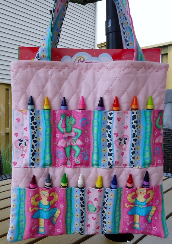 Whimisical Pink Ballerina Cat and Frog Crayon Tote complete with Crayola Crayons and Quality Coloring Book