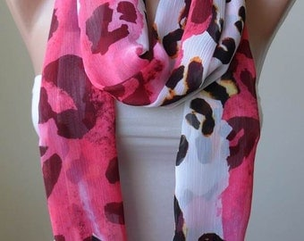 Infinity Scarf - Circle Scarf  -  Loop Scarf - Pink - Beige and Brown Scarf - Chiffon Fabric