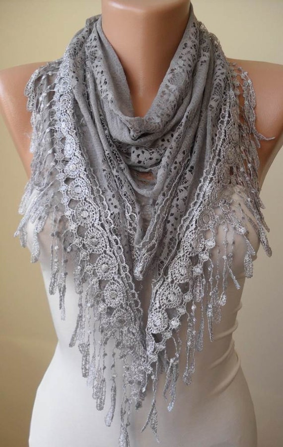 Lace Shawl - Gray Lace Scarf - Gray Laced and Soft Scarf with Gray Trim Edge  - Triangular