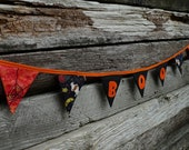 Halloween bunting,  party banner, fabric Halloween garland, All hallow's eve decor