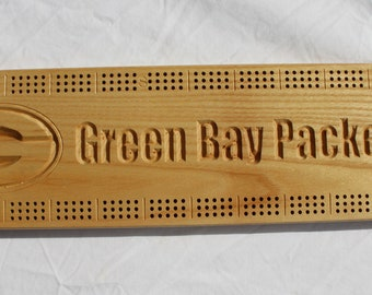 Green Bay Packer Cribbage Board made from White Ash