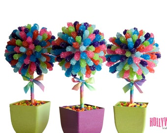 Rainbow Rock Candy Centerpiece Topiary Tree, Candy Buffet Decor, Candy Arrangement Wedding, Mitzvah, Party Favor, Edible Art