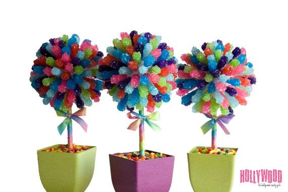 Rainbow rock candy centerpiece topiary tree buffet