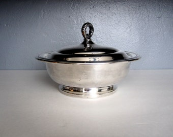 Vintage Silver Plated Serving Bowl with Lid Made by Starr