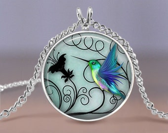 "Hummingbird Jewelry - Blue Hummingbird 20mm Necklace - Includes 18"" Chain - Hummingbird Jewelry - Bird Art - Charm Pendant Necklace"