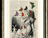 Alice in Wonderland - vintage image printed on a page from a late 1800s Dictionary Buy 3 get 1 FREE