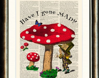 Alice in Wonderland Mad Hatter Upcycled print on a vintage book page from a late 1800s Dictionary Buy 3 get 1 FREE