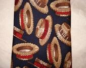 1970's Neiman Marcus Navy Silk Tie with Straw Hat Motif