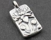 Sterling Silver Lotus in Rectangle Charm / Pendant with  Soldered Jump Ring, Elegant Jewelry Component, (SS/CH4/CR37)