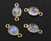 Natural Rainbow Moonstone  Bezel Component, Gold Vermeil , Incredible Blue Fire, 9x11mm,1 Piece, (RNB014)